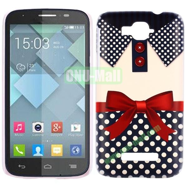 Personality Hard Plastic Back Case Cover for Alcatel One Touch Pop C7 (Blue Bowknot T-shirt)