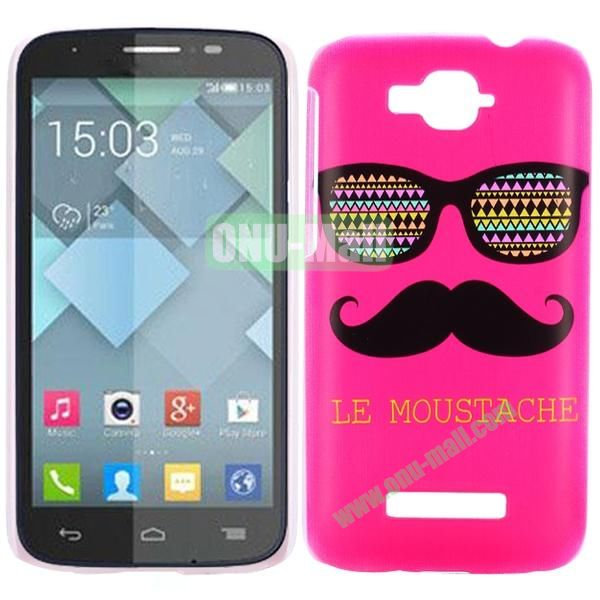 Personality Hard Plastic Back Case Cover for Alcatel One Touch Pop C7 (Rose Moustache and Sunglass)