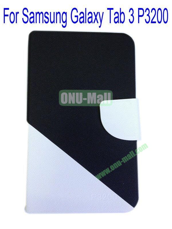 High Quality Litchi Lines Mix Color Leather Case Cover for Samsung Galaxy Tab 3 P3200 With Card Slot(Black+White)