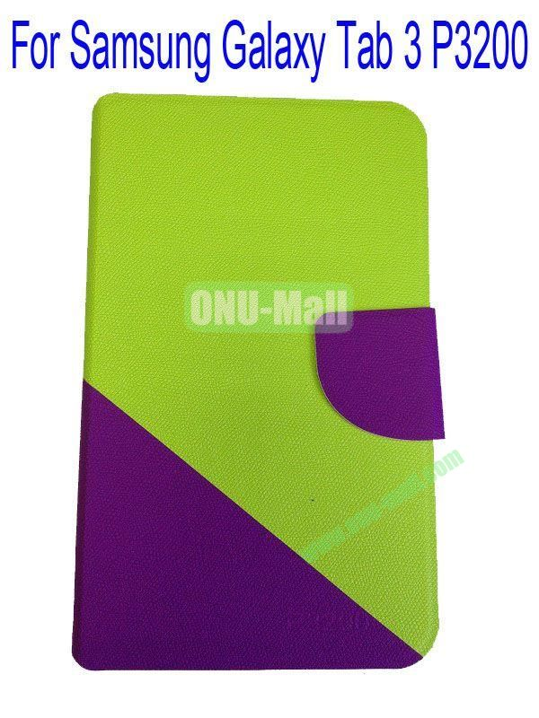 High Quality Litchi Lines Mix Color Leather Case Cover for Samsung Galaxy Tab 3 P3200 With Card Slot(Green+Purple)