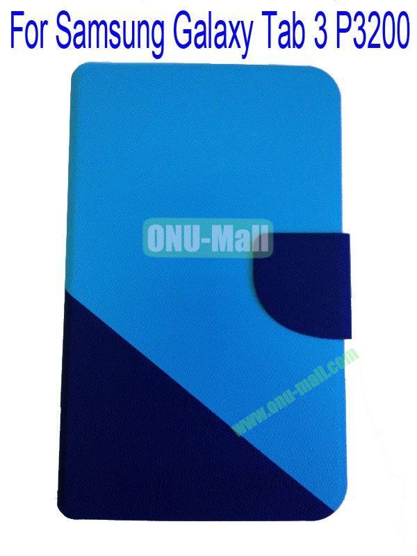 High Quality Litchi Lines Mix Color Leather Case Cover for Samsung Galaxy Tab 3 P3200 With Card Slot(Blue+Dark Blue)