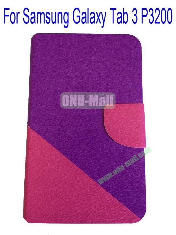 High Quality Litchi Lines Mix Color Leather Case Cover for Samsung Galaxy Tab 3 P3200 With Card Slot(Purple+Rose)