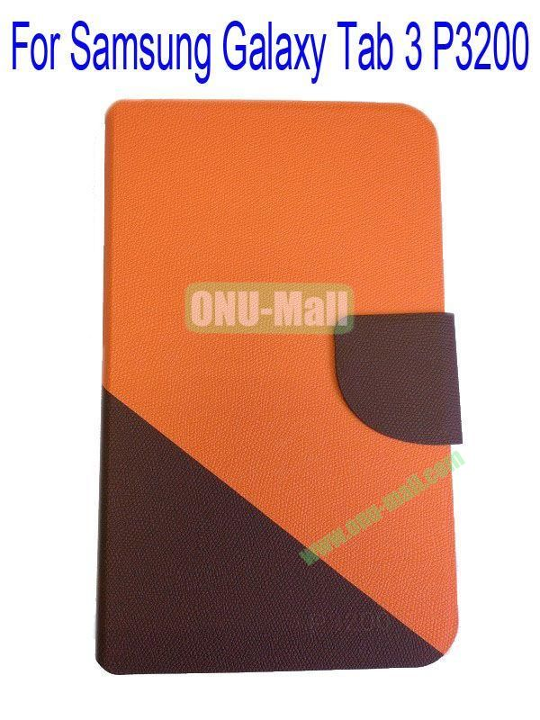 High Quality Litchi Lines Mix Color Leather Case Cover for Samsung Galaxy Tab 3 P3200 With Card Slot(Orange+Brown)