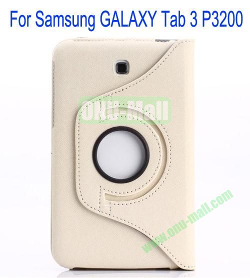 360 Degree Rotation Jean Leather Case Cover with Card Slots and Pen Holder for Samsung Galaxy Tab 3P3200(White)