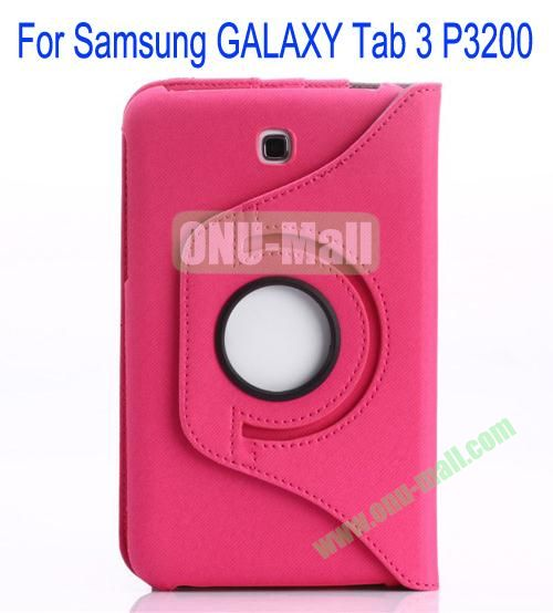 360 Degree Rotation Jean Leather Case Cover with Card Slots and Pen Holder for Samsung Galaxy Tab 3P3200(Rose)