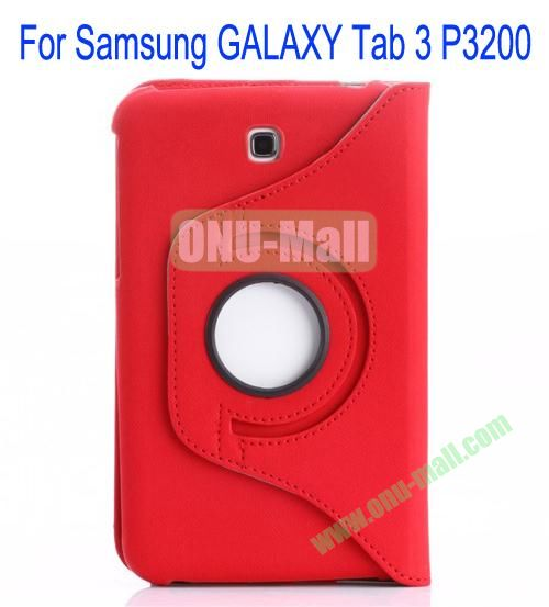 360 Degree Rotation Jean Leather Case Cover with Card Slots and Pen Holder for Samsung Galaxy Tab 3P3200(Red)