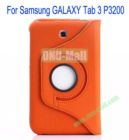 360 Degree Rotation Jean Leather Case Cover with Card Slots and Pen Holder for Samsung Galaxy Tab 3P3200(Orange)