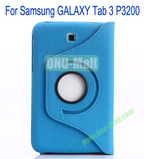 360 Degree Rotation Jean Leather Case Cover with Card Slots and Pen Holder for Samsung Galaxy Tab 3P3200(Blue)