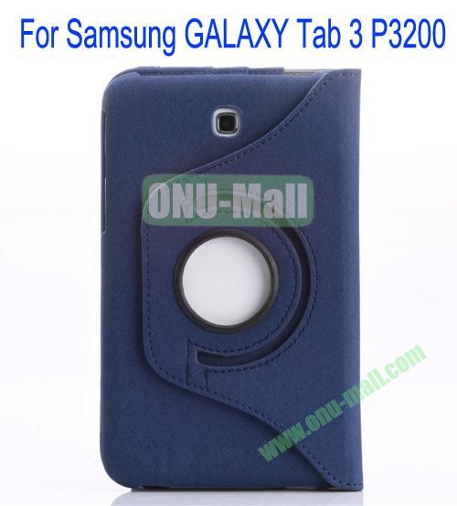 360 Degree Rotation Jean Leather Case Cover with Card Slots and Pen Holder for Samsung Galaxy Tab 3P3200(Dark Blue)