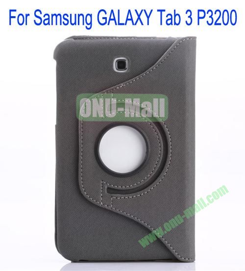 360 Degree Rotation Jean Leather Case Cover with Card Slots and Pen Holder for Samsung Galaxy Tab 3P3200(Grey)