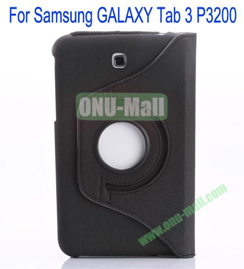 360 Degree Rotation Jean Leather Case Cover with Card Slots and Pen Holder for Samsung Galaxy Tab 3P3200(Black)