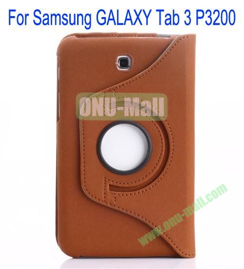360 Degree Rotation Jean Leather Case Cover with Card Slots and Pen Holder for Samsung Galaxy Tab 3P3200(Brown)