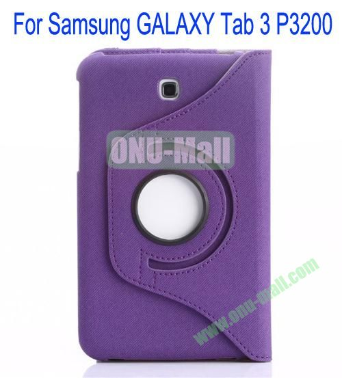 360 Degree Rotation Jean Leather Case Cover with Card Slots and Pen Holder for Samsung Galaxy Tab 3P3200(Purple)