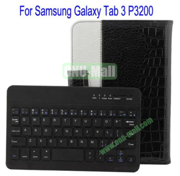 360 Degree Rotation Crocodile Texture Detachable Bluetooth Keyboard Leather Case Cover for Samsung Galaxy Tab 3P3200 with Stand(White+Black)