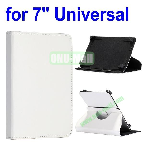 360 Degree Rotate with Elastic Belt Leather Case for 7 inch Tablet PC (White)