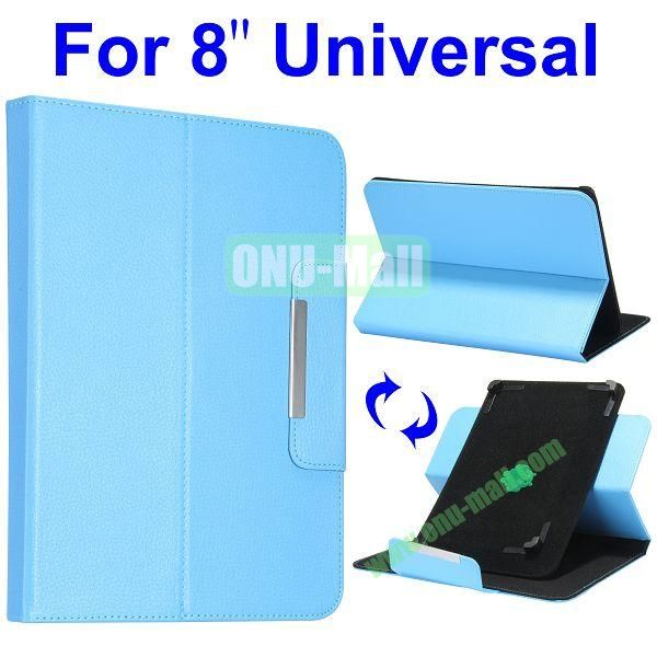 Litchi Texture 360 Rotate with Removeable Velcro Strip Corners Flip Leather Case for 8 inch Tablet PC (Blue)
