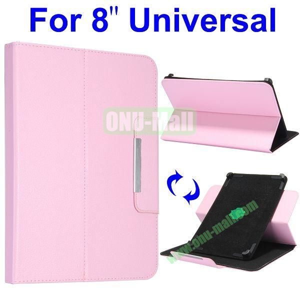 Litchi Texture 360 Rotate with Removeable Velcro Strip Corners Flip Leather Case for 8 inch Tablet PC (Pink)