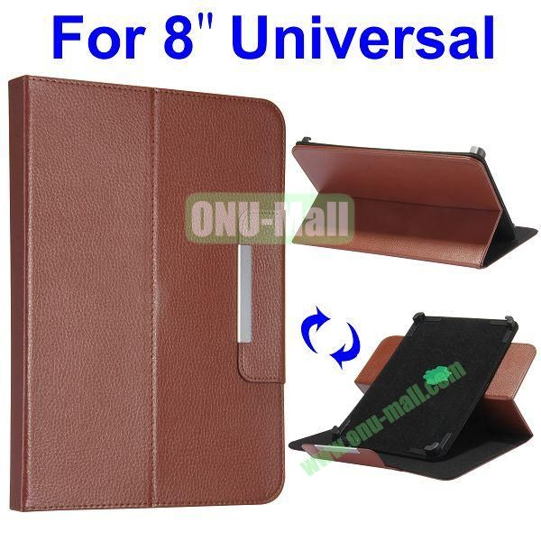 Litchi Texture 360 Rotate with Removeable Velcro Strip Corners Flip Leather Case for 8 inch Tablet PC (Brown)
