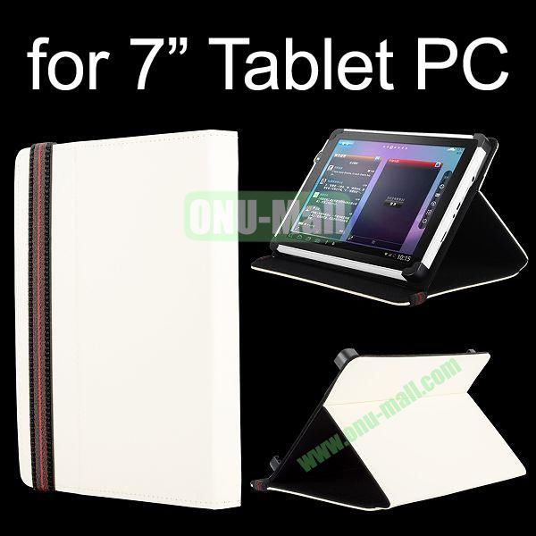 High Quality Flip Stand Leather Case For 7 Inch Tablet PC with Elastic Belt (White)