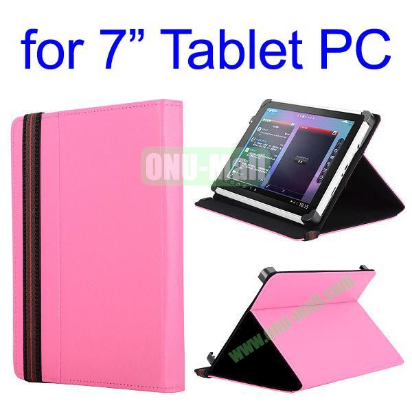 High Quality Flip Stand Leather Case For 7 Inch Tablet PC with Elastic Belt (Rose)