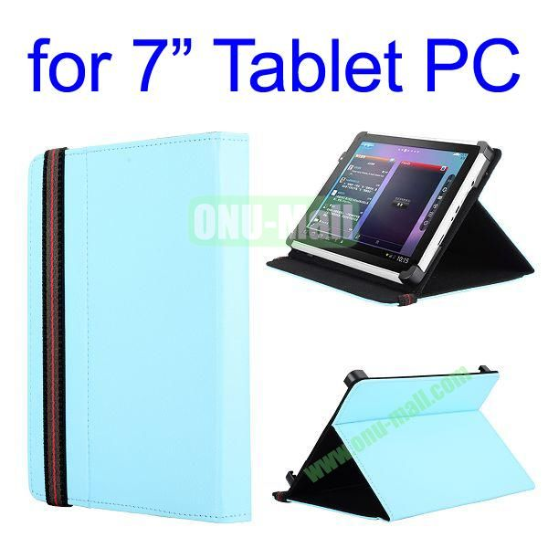 High Quality Flip Stand Leather Case For 7 Inch Tablet PC with Elastic Belt (Light Blue)