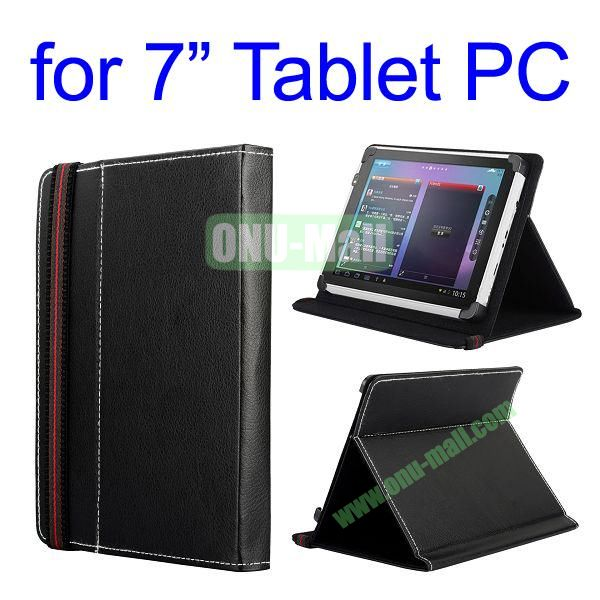 High Quality Flip Stand Leather Case For 7 Inch Tablet PC with Elastic Belt (Black)