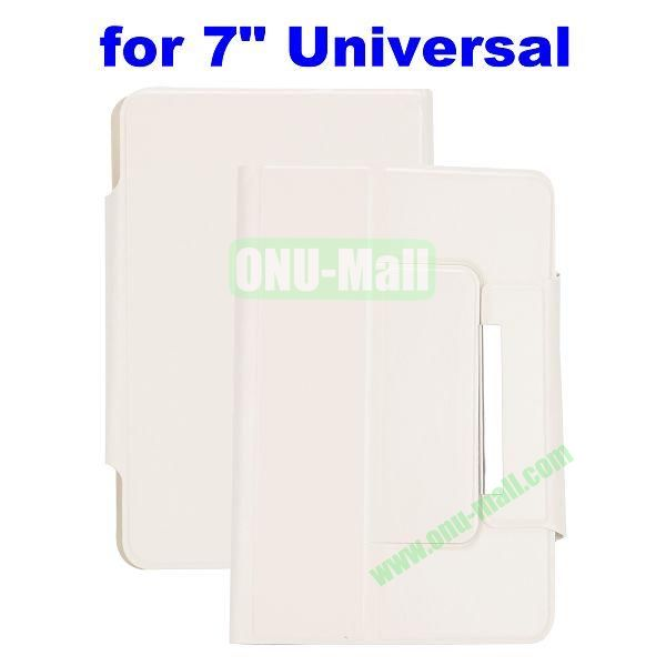 Crazy Horse Texture Magnetic Universal Flip Leather Case for 7 inch Tablet PC with Card Slots (White)