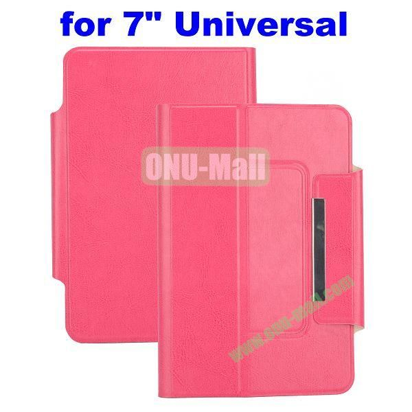 Crazy Horse Texture Magnetic Universal Flip Leather Case for 7 inch Tablet PC with Card Slots (Rose)