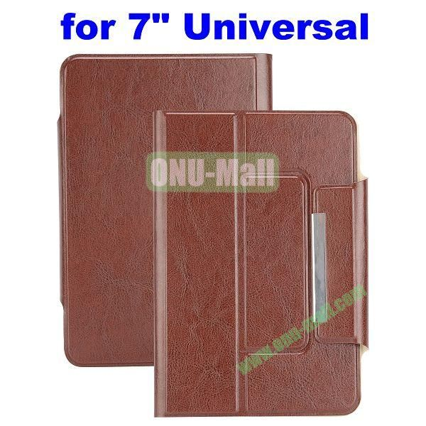 Crazy Horse Texture Magnetic Universal Flip Leather Case for 7 inch Tablet PC with Card Slots (Brown)