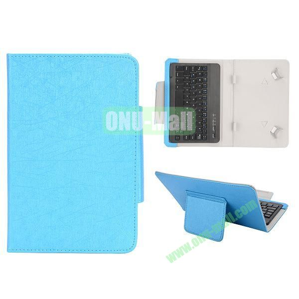 7 inch Tablet PC Bluetooth Keyboard Leather Case (Blue)