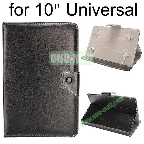 Universal Crazy Horse Texture Magnetic Flip Stand Leather Case with Adjustable Elastic Belt Corners for 10 inch Tablet PC (Black)