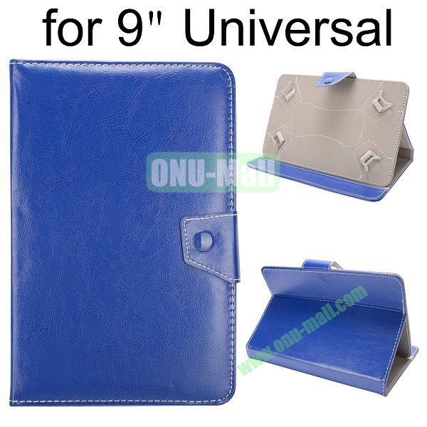 Universal Magnetic Flip Leather Case Cover for 9 inch Tablet PC with Adjustable Elastic Belt Corners 9 ( Blue )