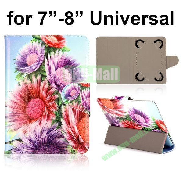 Universal 3-Folding Leather Case for 7 inch Tablet PC with 4 Elastic Straps (Flower Pattern)