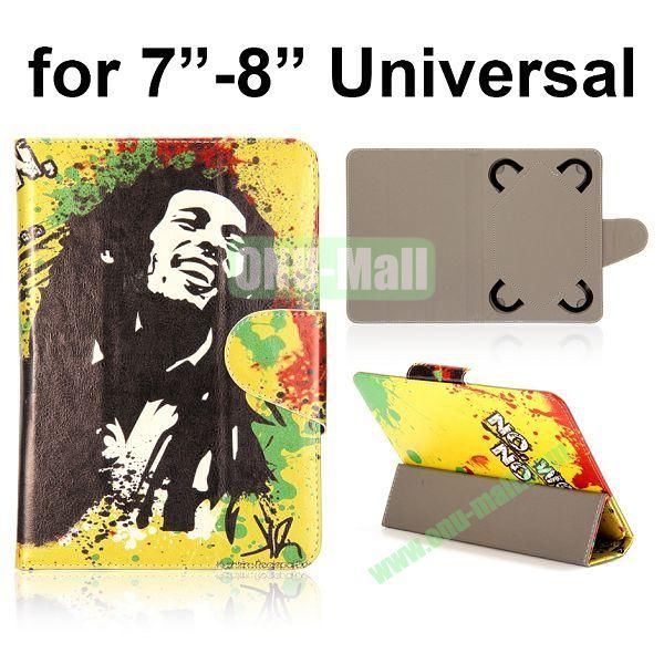 Universal 3-Folding Leather Case for 7 inch Tablet PC with 4 Elastic Straps (Bob Marley)