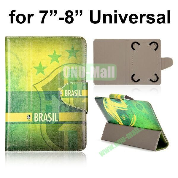 Universal 3-Folding Leather Case for 7 inch Tablet PC with 4 Elastic Straps (Brazil Flag)
