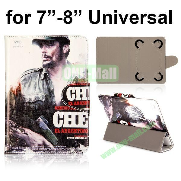 Universal 3-Folding Leather Case for 7 inch Tablet PC with 4 Elastic Straps (Poster of Che - Argentinean)
