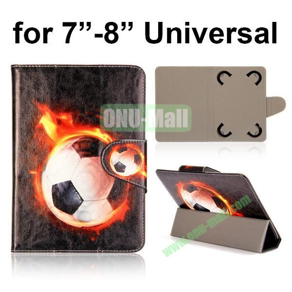 Universal 3-Folding Leather Case for 7 inch Tablet PC with 4 Elastic Straps (Firing Football)