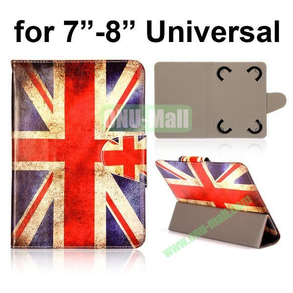 Universal 3-Folding Leather Case for 7 inch Tablet PC with 4 Elastic Straps (Retro UK Flag)