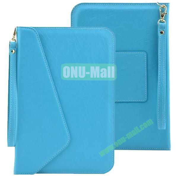 Universal Leather Pouch Bag for 7 & 8 Inch Tablet PC with Lanyard (Blue)