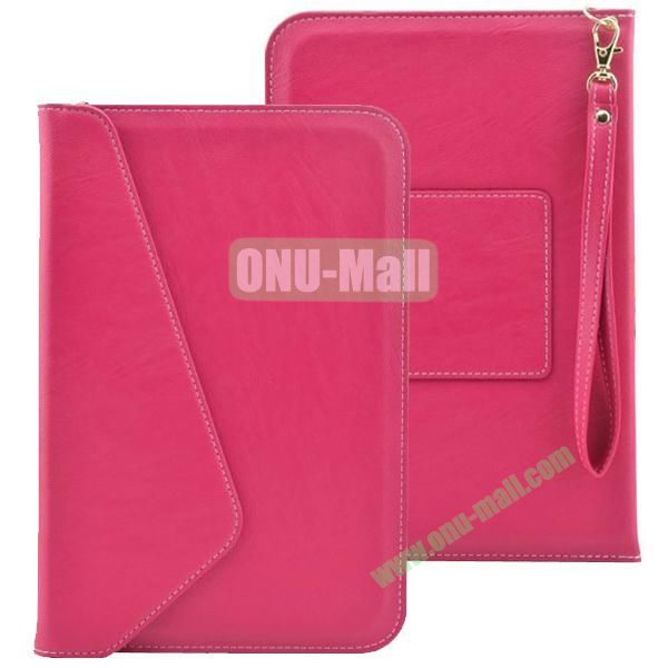 Universal Leather Pouch Bag for 7 & 8 Inch Tablet PC with Lanyard (Magenta)