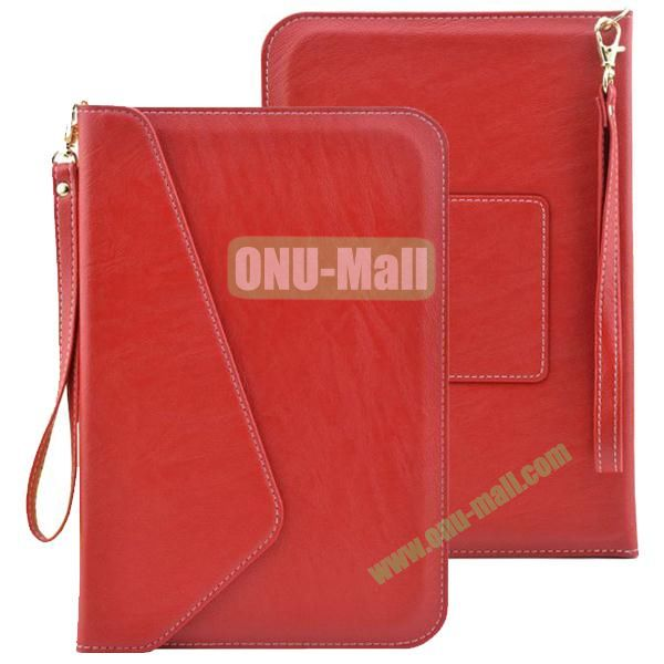 Universal Leather Pouch Bag for 7 & 8 Inch Tablet PC with Lanyard (Red)