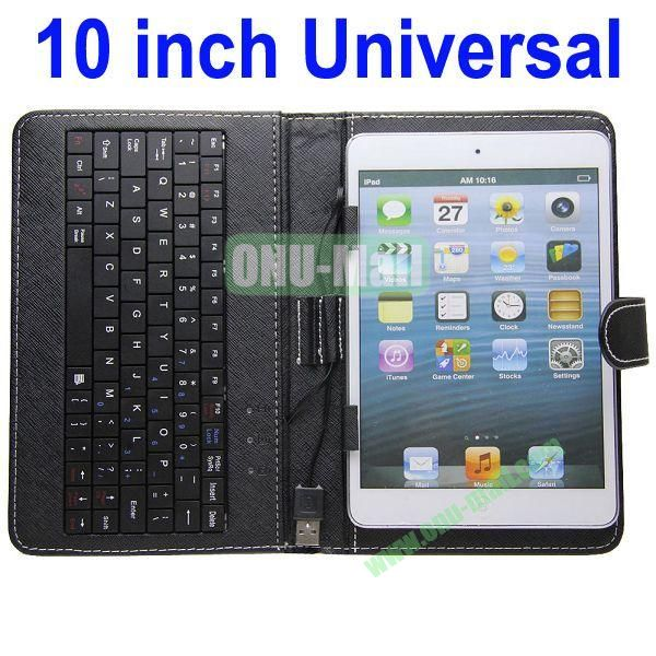 10 Inch Universal Wired Keyboard Leather Case(Black)
