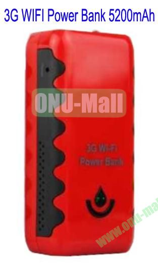 3G Wi-fi 5200mAh Power Bank for iPhone 5,Galaxy S4, Mobile Phones etc(Red)