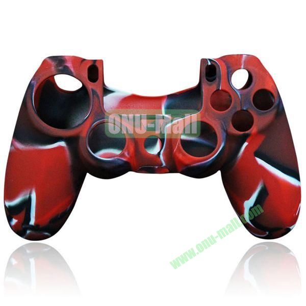 Camouflage Flexible Silicone Case for Sony PS4 Game Controller (Red)