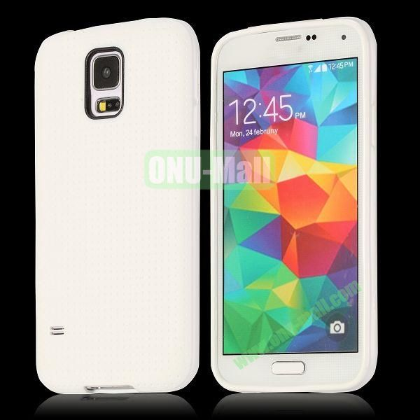 Flexible Mesh Pattern TPU Protective Case for Samsung Galaxy S5 I9600 (White)
