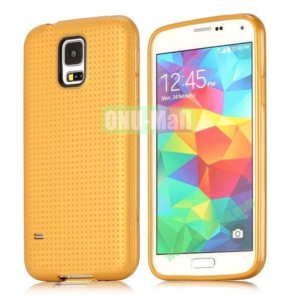 Flexible Mesh Pattern TPU Protective Case for Samsung Galaxy S5 I9600 (Champagne)