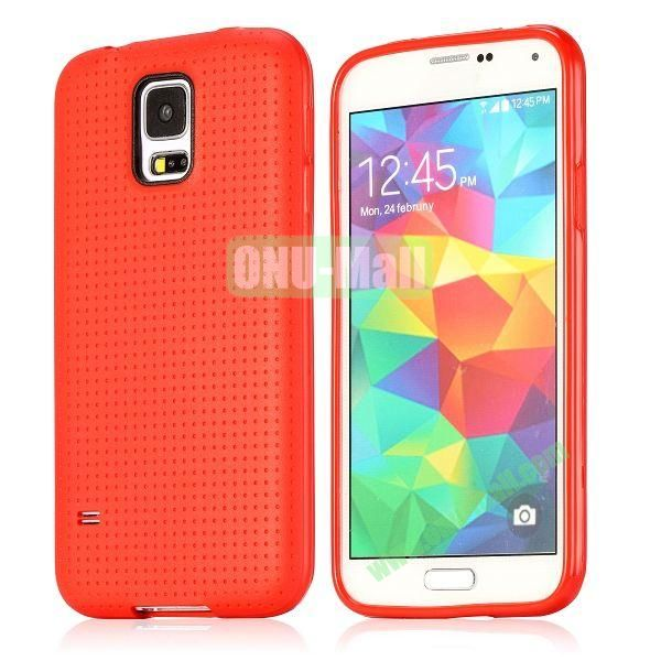 Flexible Mesh Pattern TPU Protective Case for Samsung Galaxy S5 I9600 (Red)