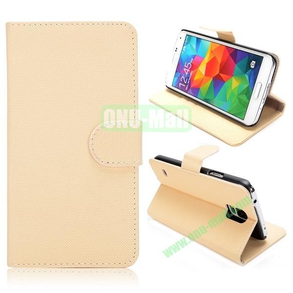 Wallet Cloth Pattern Leather Case for Samsung Galaxy S5  I9600 (Beige)