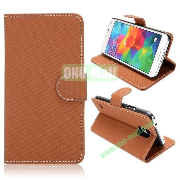 Wallet Cloth Pattern Leather Case for Samsung Galaxy S5  I9600 (Brown)