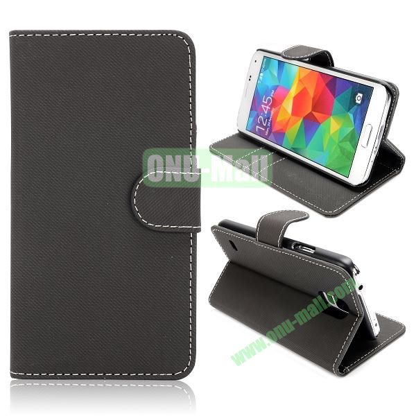 Wallet Cloth Pattern Leather Case for Samsung Galaxy S5  I9600 (Black)
